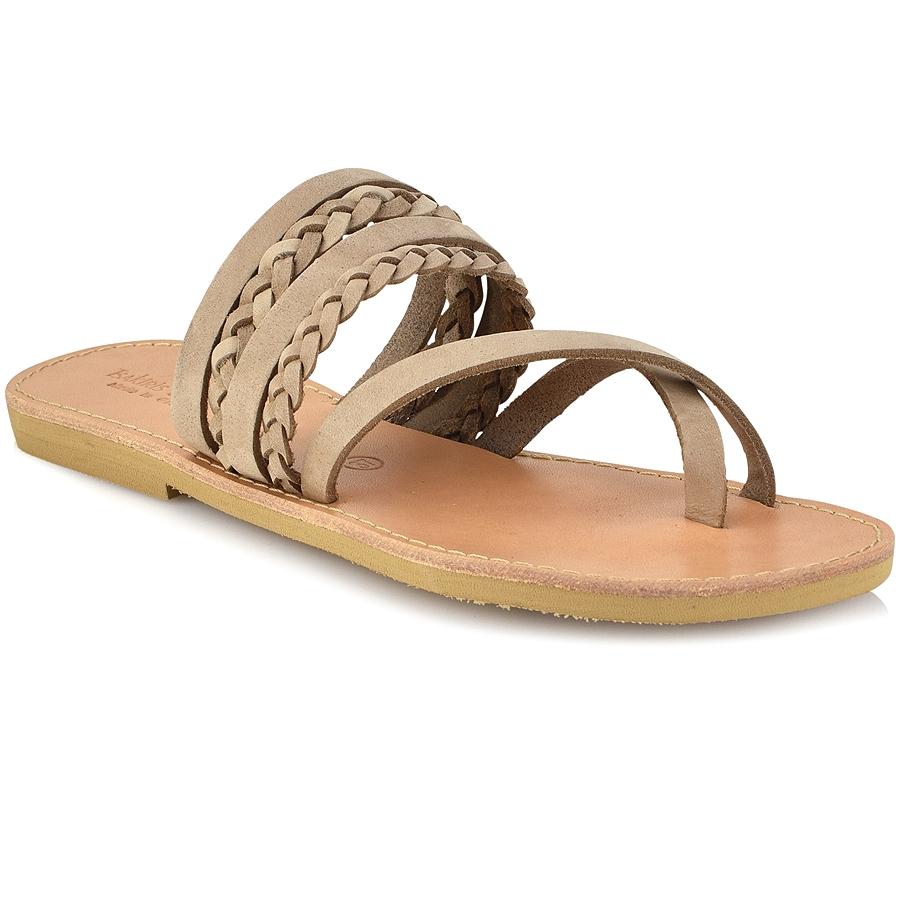 Δερμάτινη μπεζ σαγιονάρα Tsakiris Sandals TS1025
