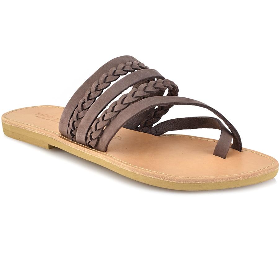 Δερμάτινη καφέ σαγιονάρα Tsakiris Sandals TS1025
