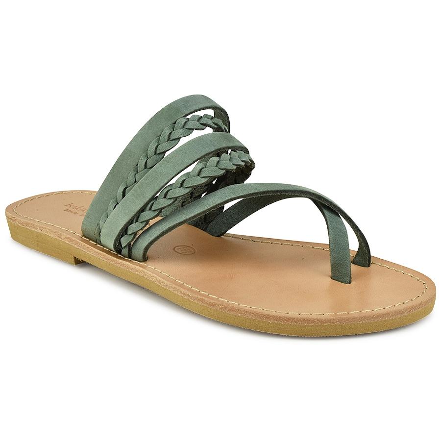 Δερμάτινη πράσινη σαγιονάρα Tsakiris Sandals TS1025