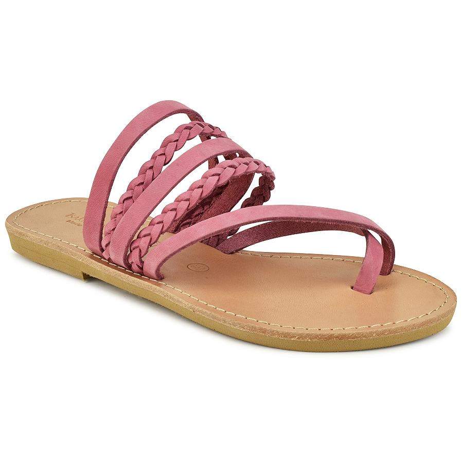 Δερμάτινη ροζ σαγιονάρα Tsakiris Sandals TS1025