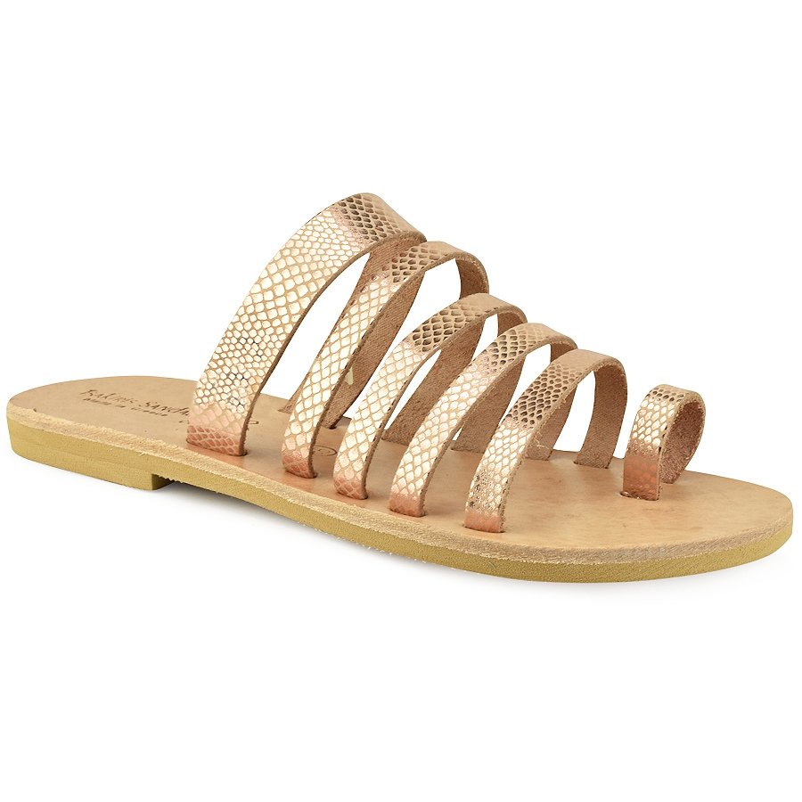 Δερμάτινη χάλκινη σαυρέ σαγιονάρα Tsakiris Sandals TS1028