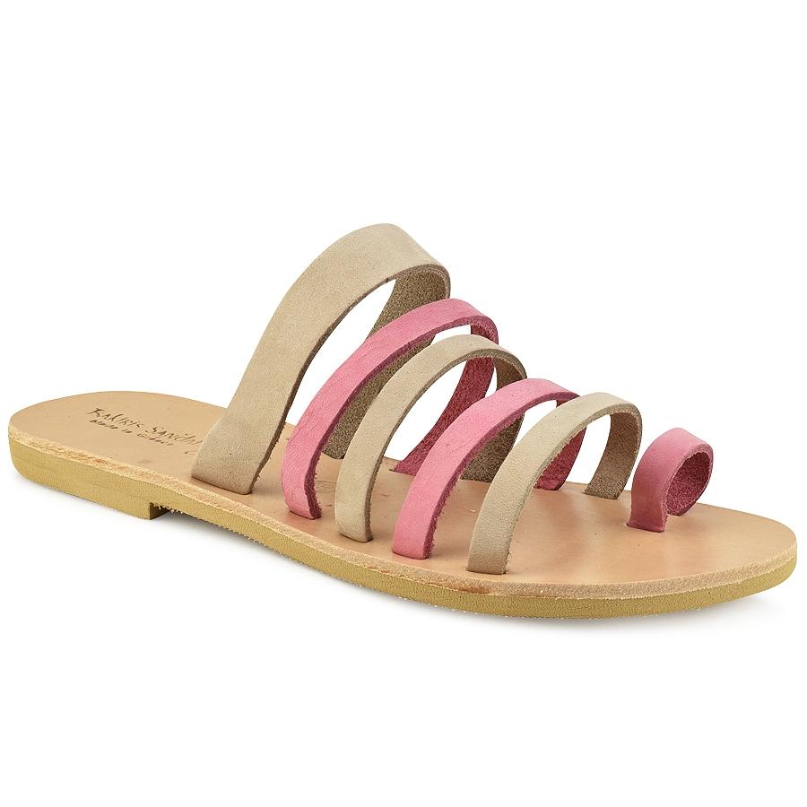 Δερμάτινη ροζ με μπεζ σαγιονάρα Tsakiris Sandals TS1028