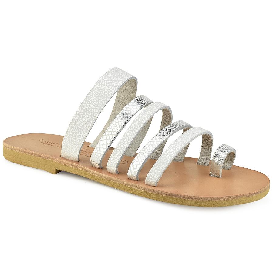 Δερμάτινη λευκή σαυρέ σαγιονάρα Tsakiris Sandals TS1028