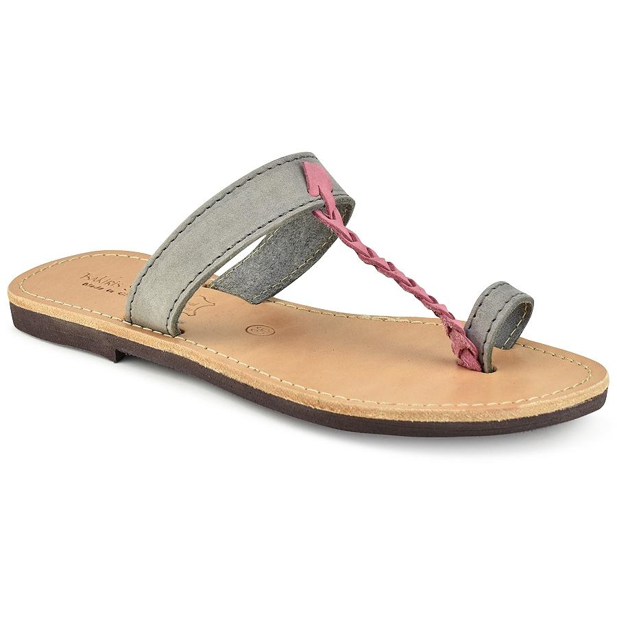 Δερμάτινη γκρί σαγιονάρα με ροζ πλεξούδα Tsakiris Sandals TS127