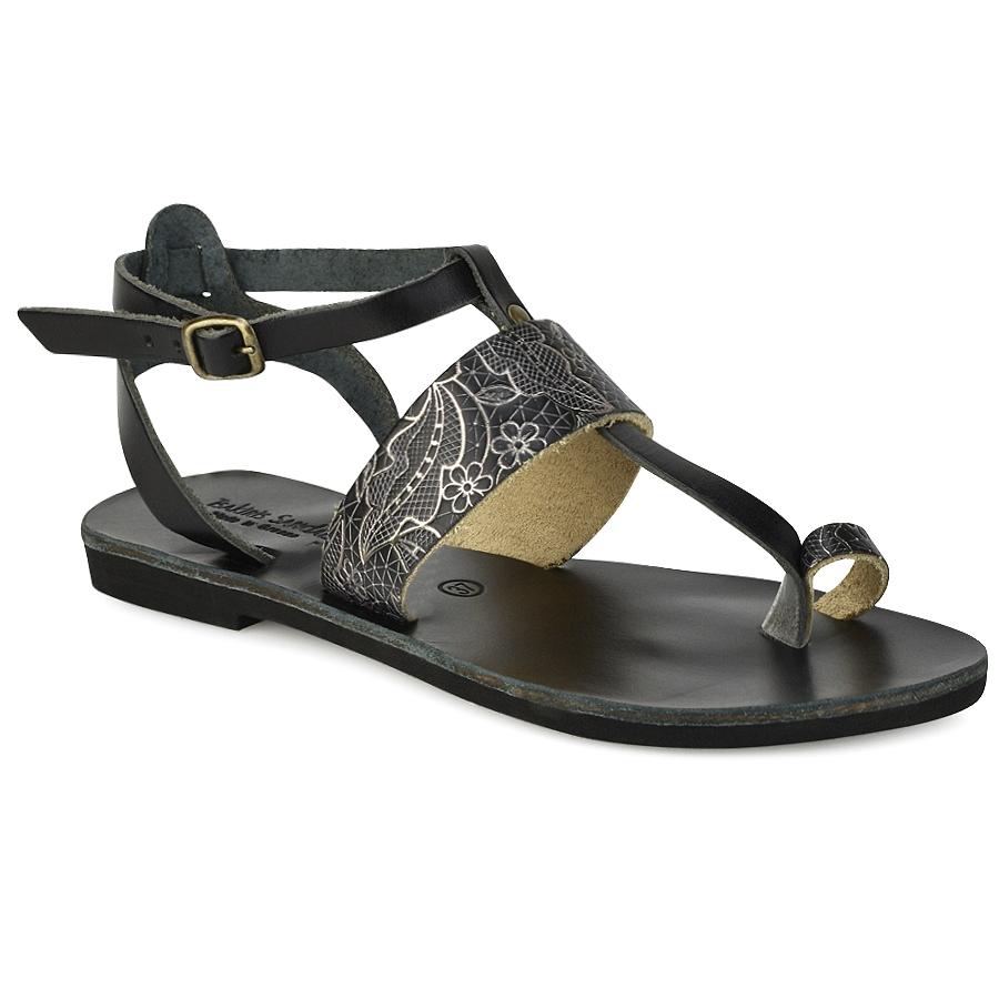 Δερμάτινο μαύρο με print σανδάλι Tsakiris Sandals TS608