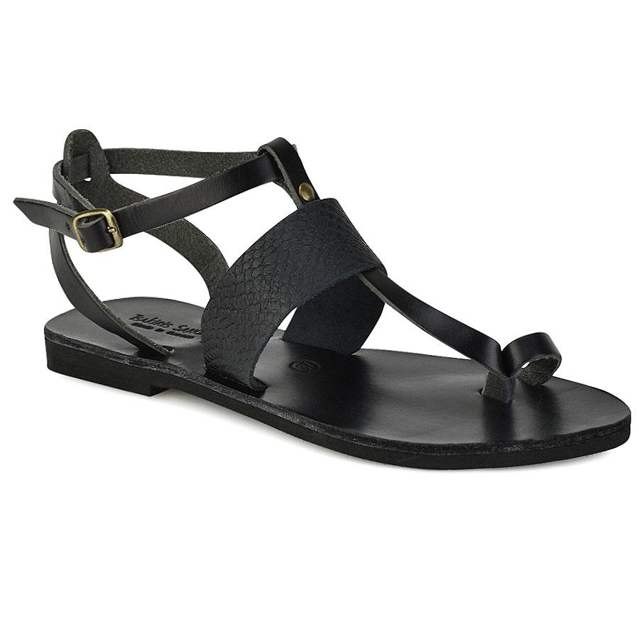 Δερμάτινο μαύρο κροκό σανδάλι Tsakiris Sandals TS608