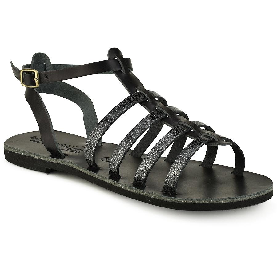 Δερμάτινο μαύρο σανδάλι με glitter Tsakiris Sandals TS651