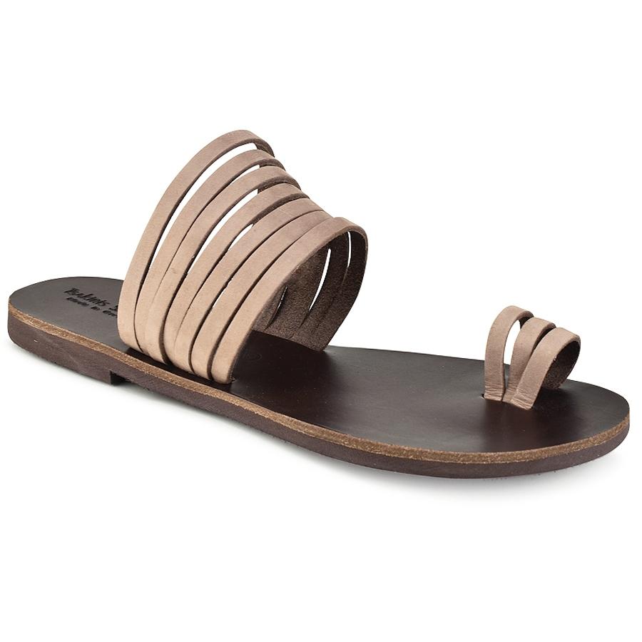 Δερμάτινη καφέ σαγιονάρα Tsakiris Sandals TS920