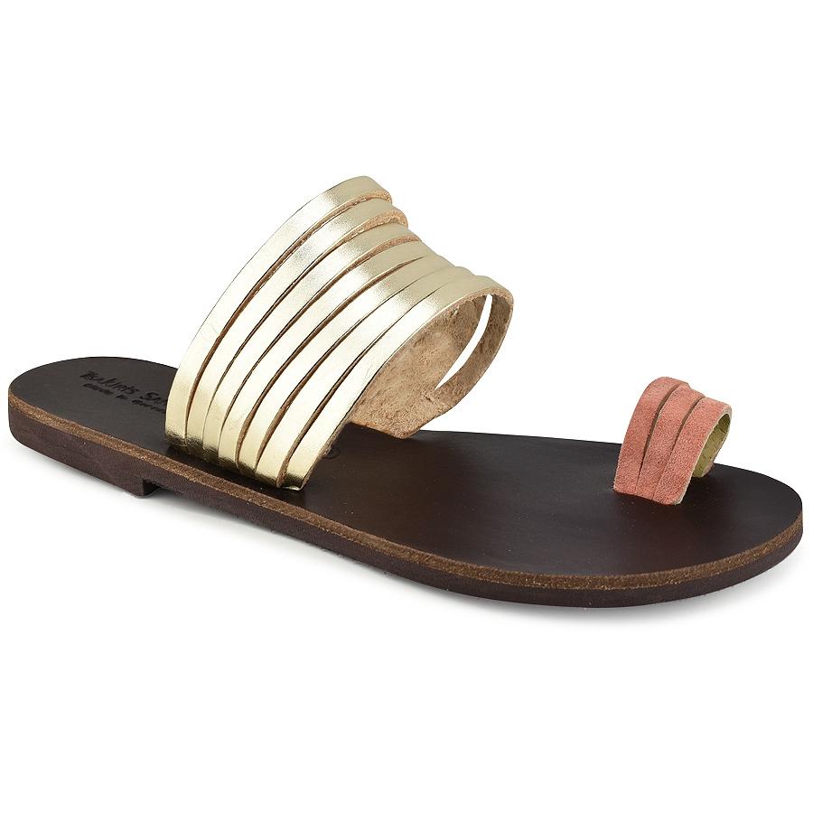Δερμάτινη χρυσή σαγιονάρα με ροζ λεπτομέρεια Tsakiris Sandals TS920