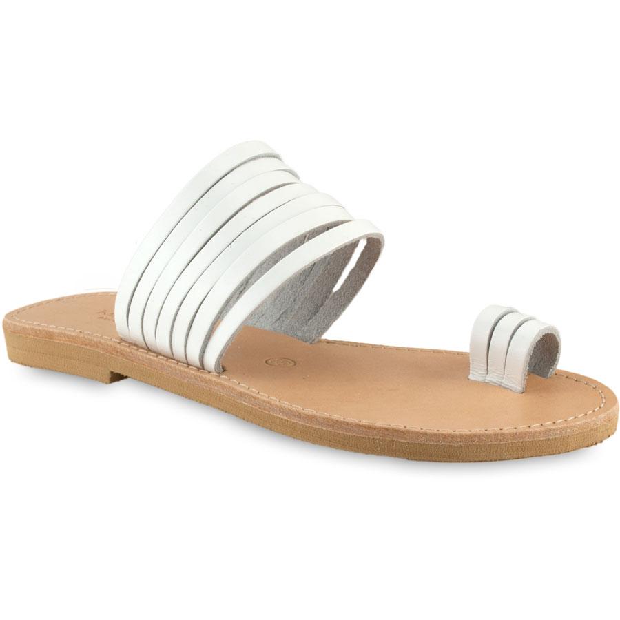 Δερμάτινη λευκή σαγιονάρα Tsakiris Sandals TS920