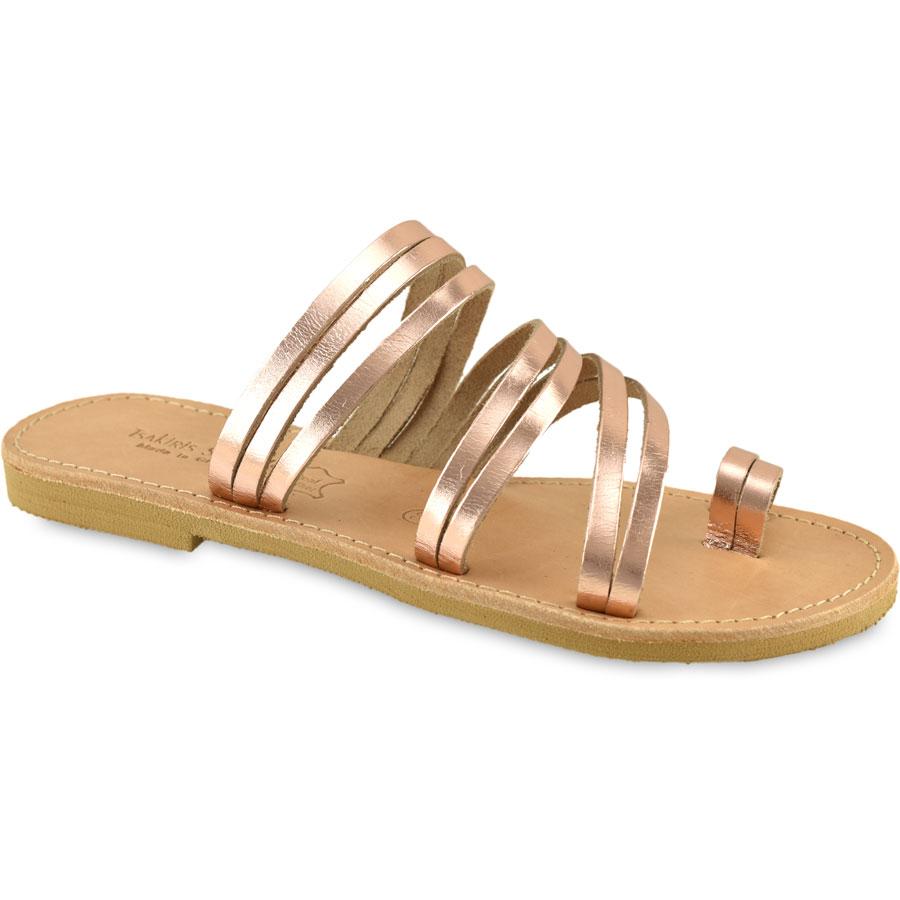 Δερμάτινη σαγιονάρα σε χαλκό Tsakiris Sandals TS921