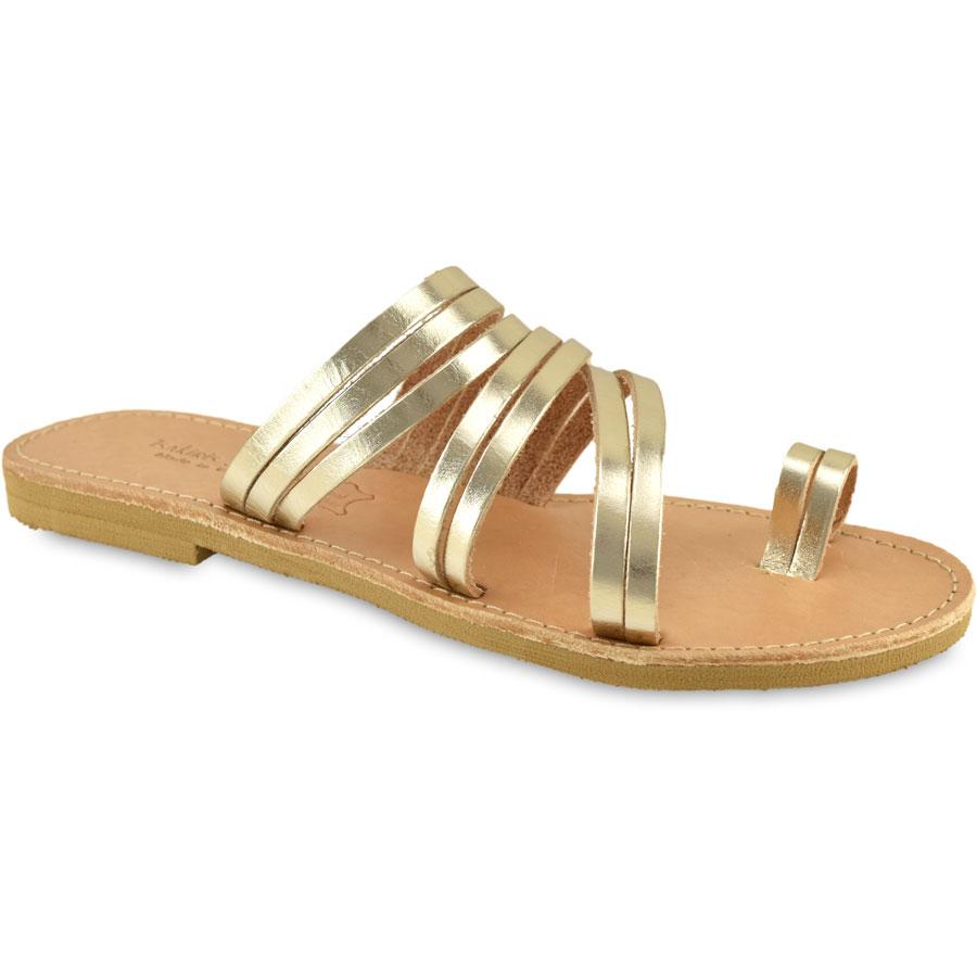 Δερμάτινη χρυσή σαγιονάρα Tsakiris Sandals TS921