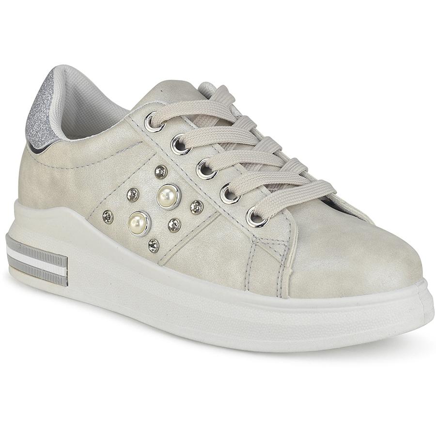 Γκρι sneakers με πέρλες W8312