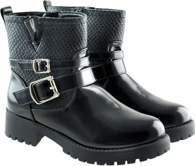 Μαύρο biker boot λουστρίνι CM Paris Υ8533